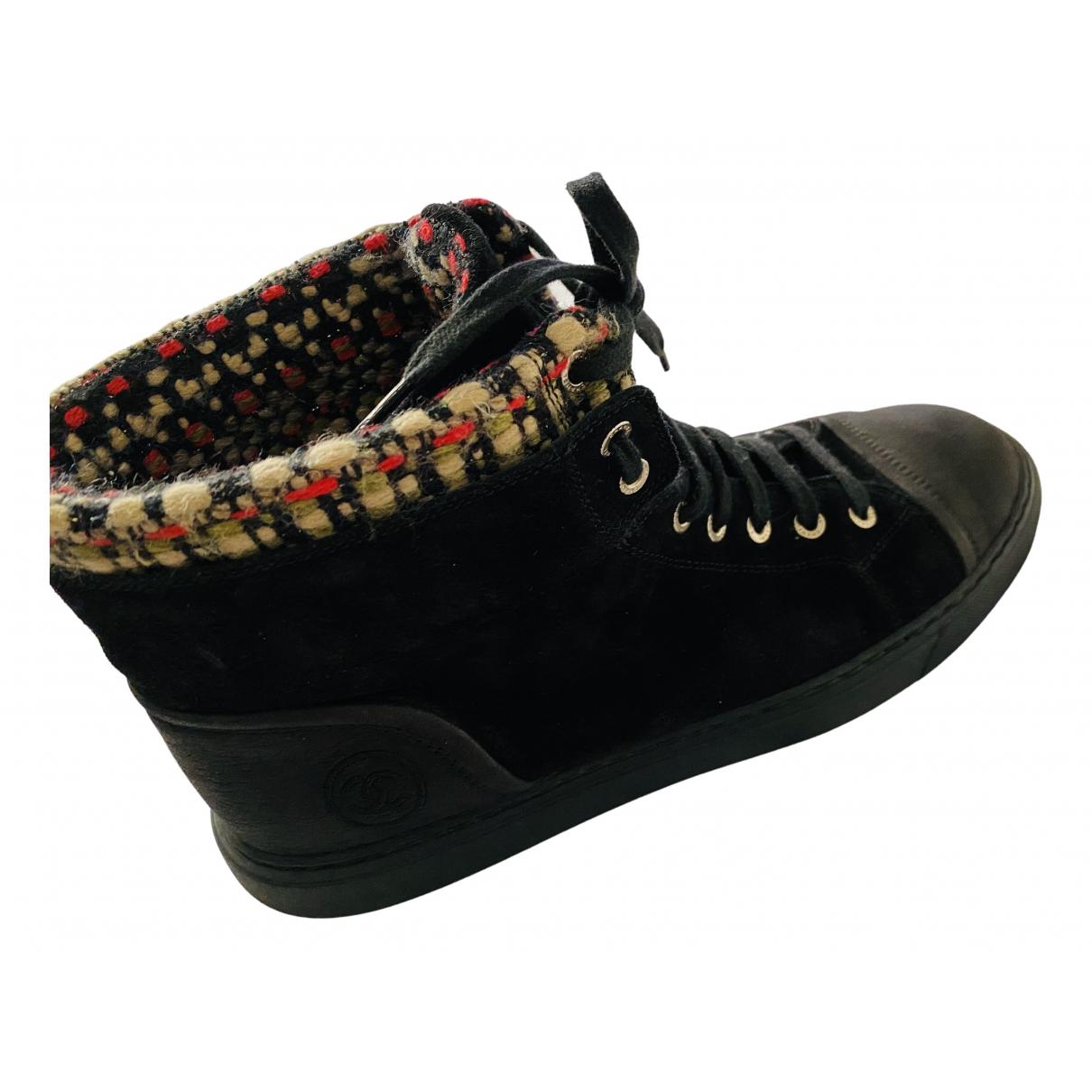 Chanel - Boots   pour femme en velours - noir