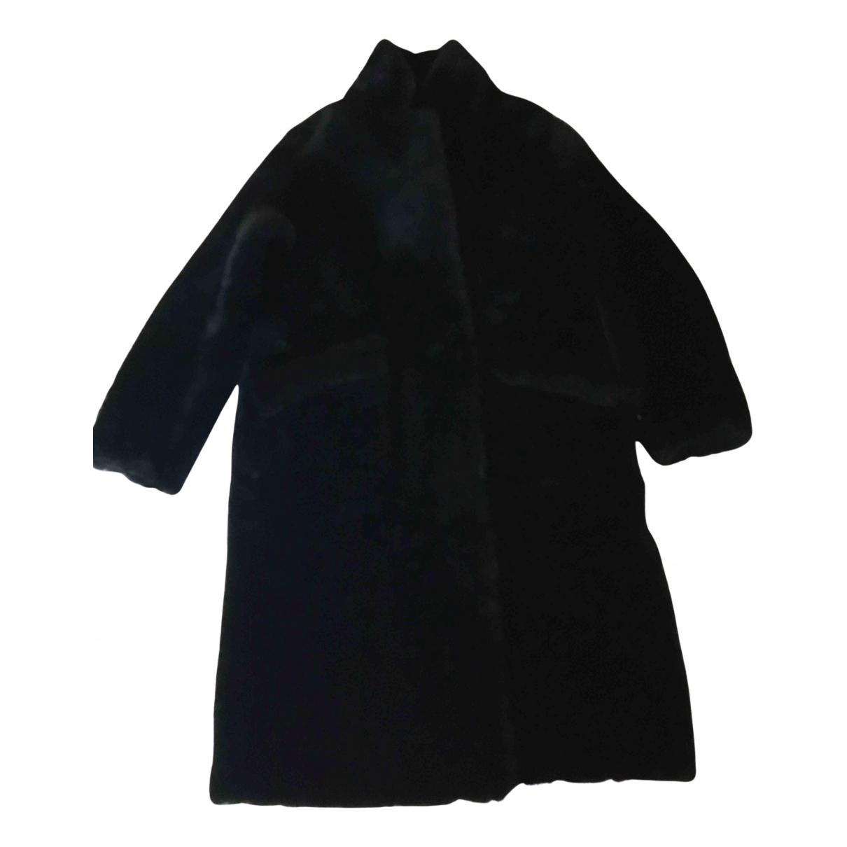 Sprung Freres - Manteau   pour femme en mouton - noir