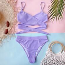 Rib Cross Wrap Bikini Swimsuit