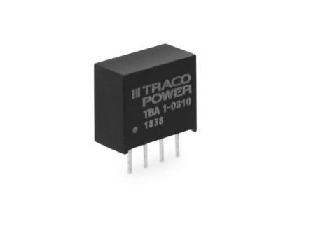 TRACOPOWER TBA 1 1W Isolated DC-DC Converter Through Hole, Voltage in 21.6 → 26.4 V dc, Voltage out 12V dc