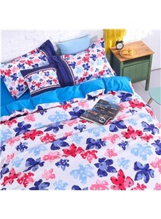 Colorful Floral Silhouette Pattern 4-Piece Polyester Bedding Sets/Duvet Cover