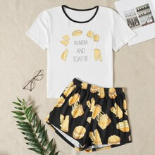 Letter And Food Print Pajama Set