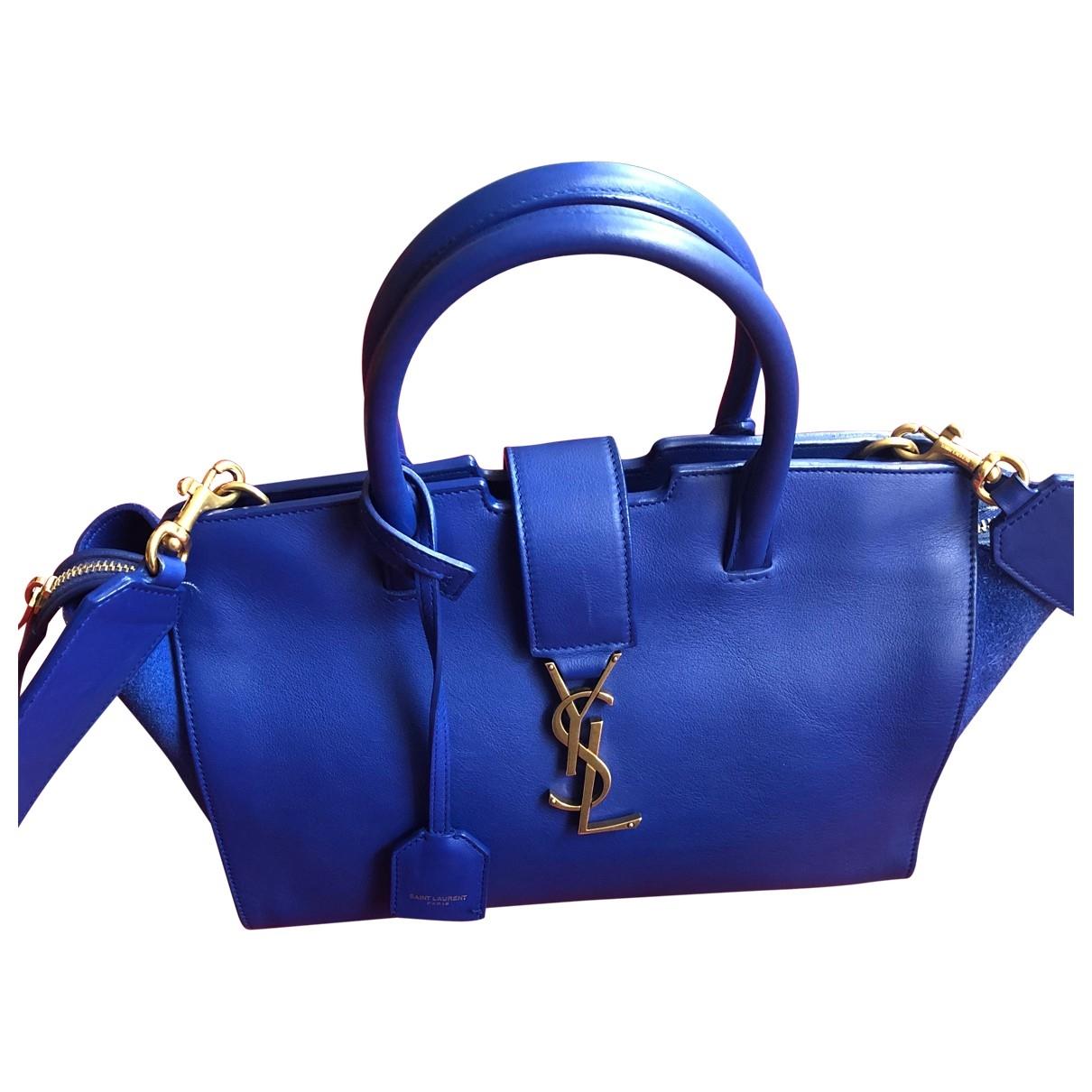 Saint Laurent Monogram Downtown Cabas Blue Leather handbag for Women \N