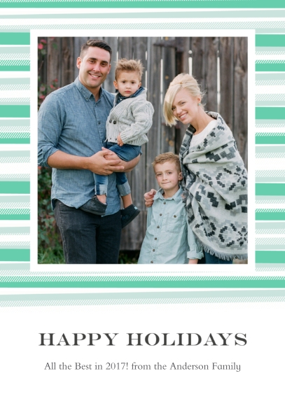 Holiday Photo Cards 5x7 Folded Cards, Standard Cardstock 85lb, Card & Stationery -Blanket Border Happy Holidays