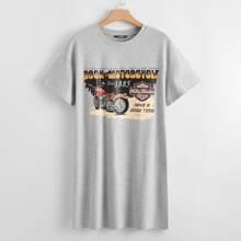 Vestido estilo camiseta con estampado de slogan de hombros caidos