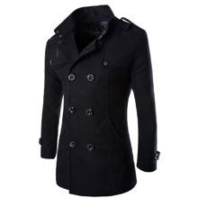 Zweireihiger Mantel mit Stehkragen