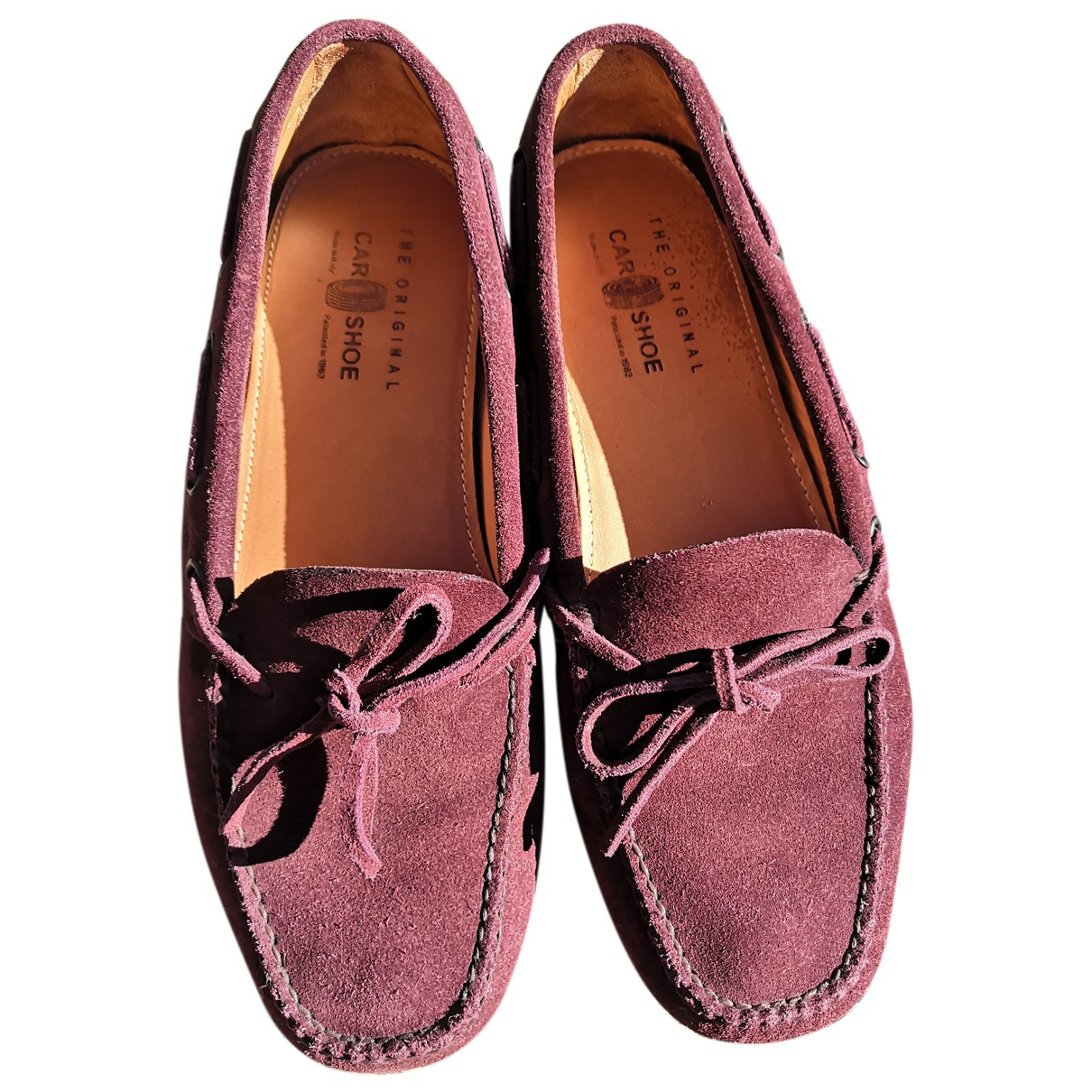 Carshoe N Burgundy Leather Flats for Women 38 EU