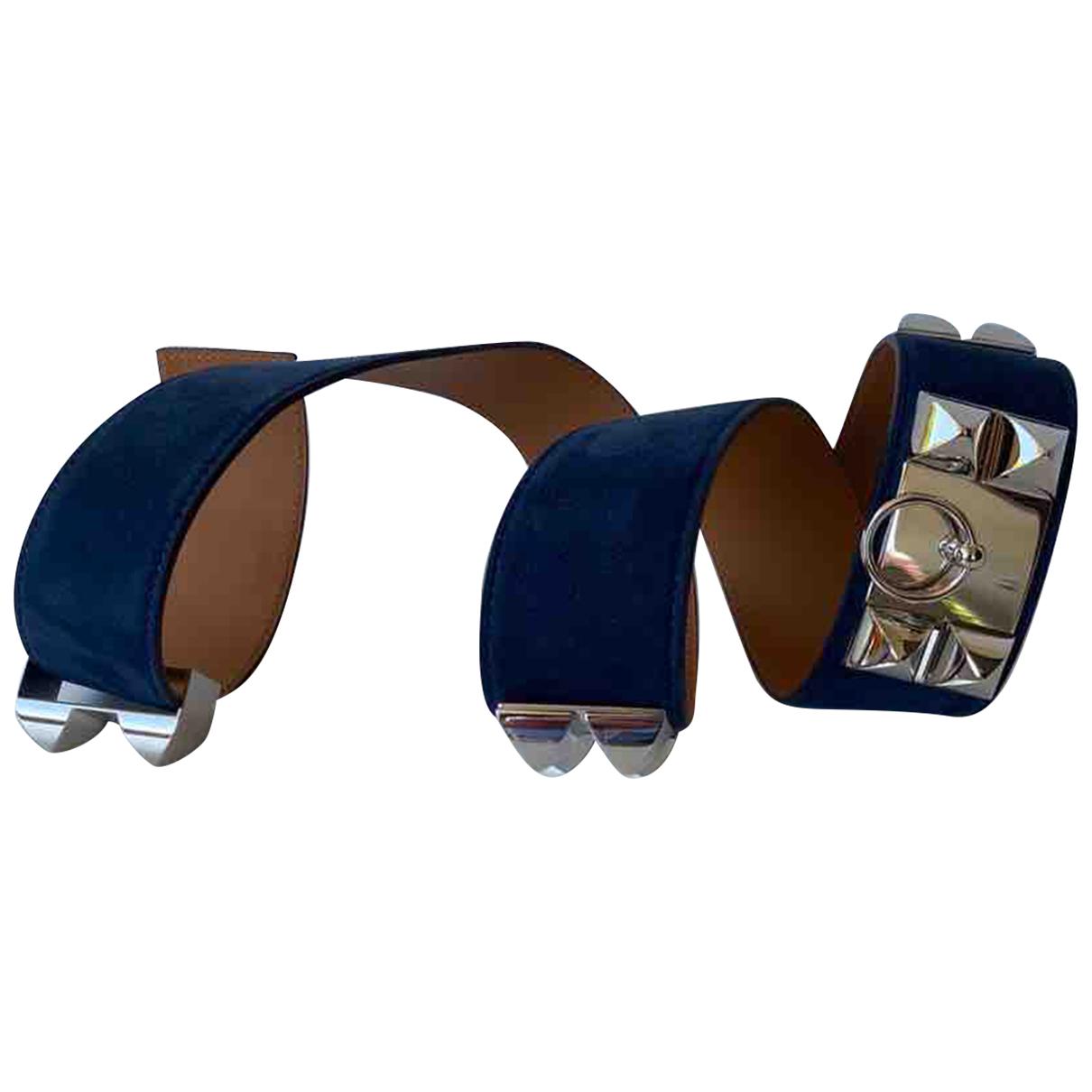 Hermes Collier de chien Guertel in  Blau Veloursleder