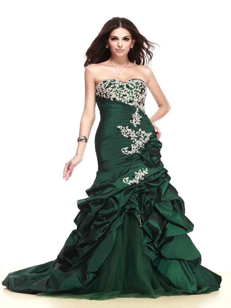 Sweetheart Sequins Ruffles Taline's Evening Dress With Zipper-Up Back