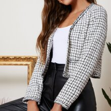 Open Front Tape Trim Tweed Jacket