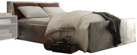 Brancaster Collection 26220Q Queen Size Bed with Storage Headboard  Retro Brown Top Grain Leather Upholstery  Wood Frame and Patchedwork Metal Rails