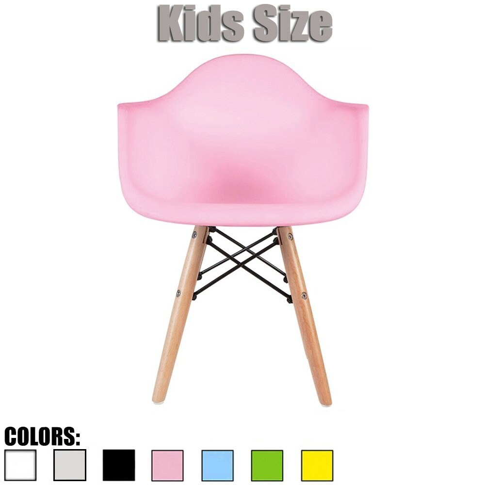 2xhome - single, Pink Kids Size Armchair Natural Wood Children
