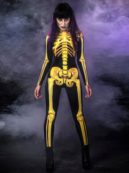 Milanoo Disfraz de Halloween Mono de esqueleto Glod Zentai Traje de Halloween