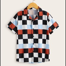 Boys Notched Collar Colorblock Checked Shirt