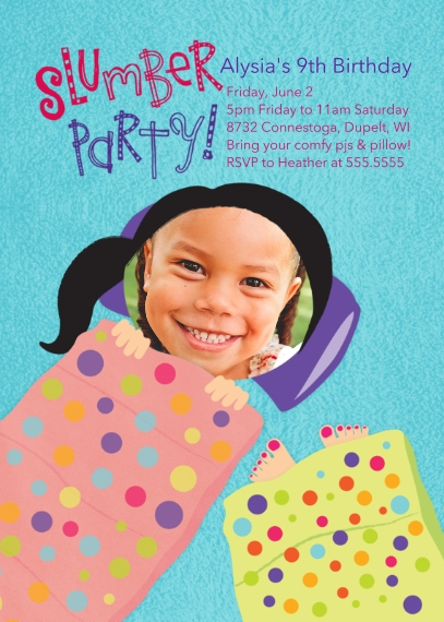 Kids Birthday Party Invites 5x7 Folded Cards, Premium Cardstock 120lb, Card & Stationery -Slumber Party Birthday