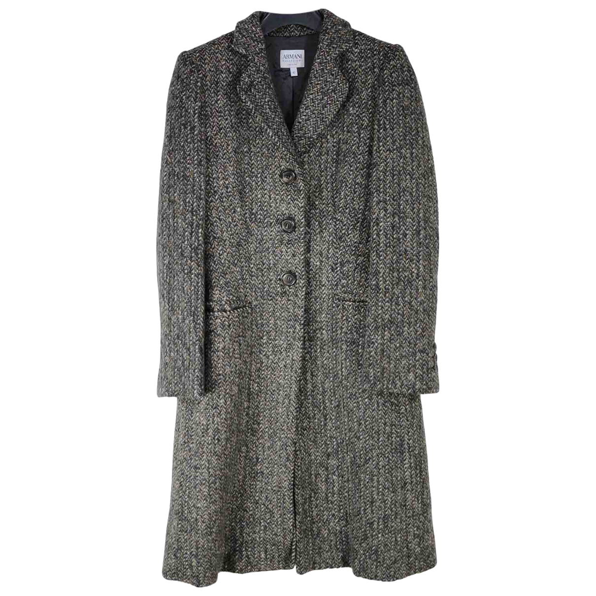 Armani Collezioni N Grey Wool coat for Women 42 IT