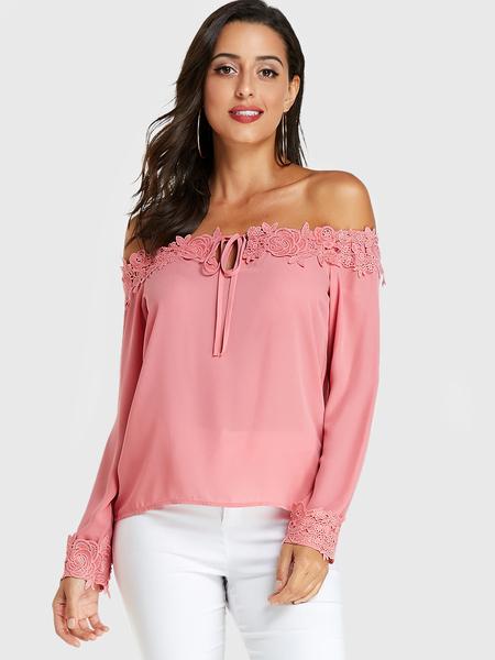 YOINS Pink Crochet Lace Embellished Off Shoulder Blouse