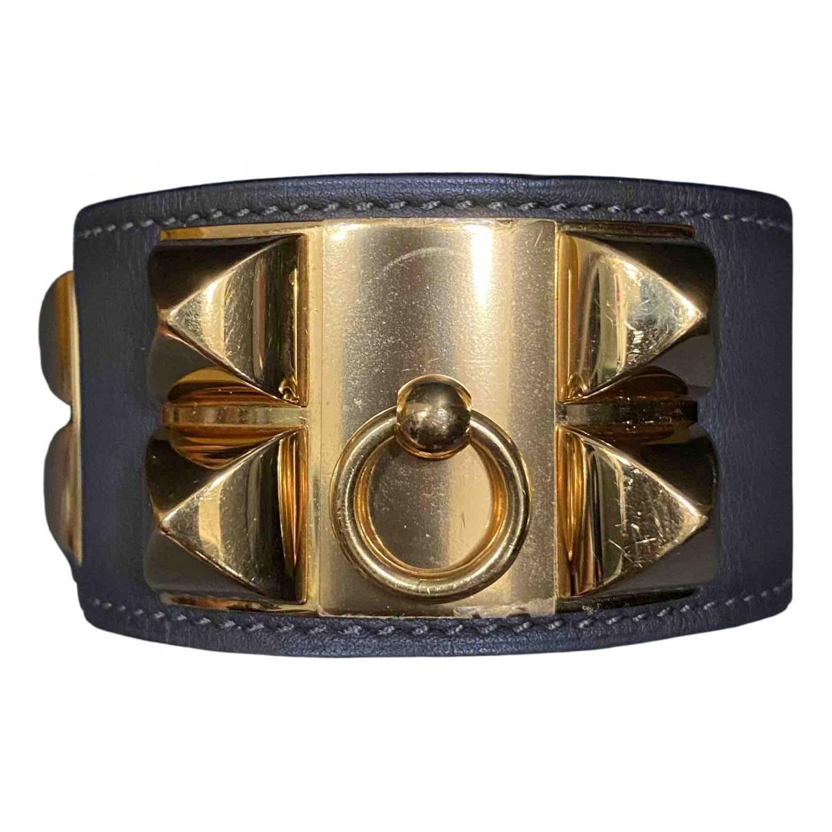 Hermes Collier de chien  Armband in  Grau Gold und Stahl