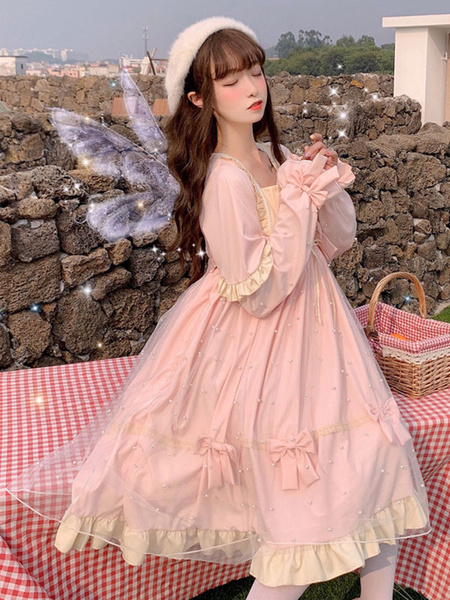 Milanoo Sweet Lolita OP Dress Arcos Manga larga Lolita Vestidos de una pieza