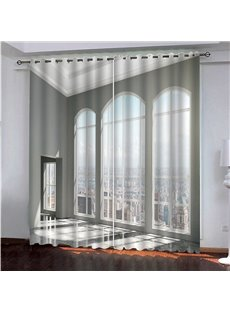 White Window and City Scenery Printed Blackout 3D Scenery Curtain