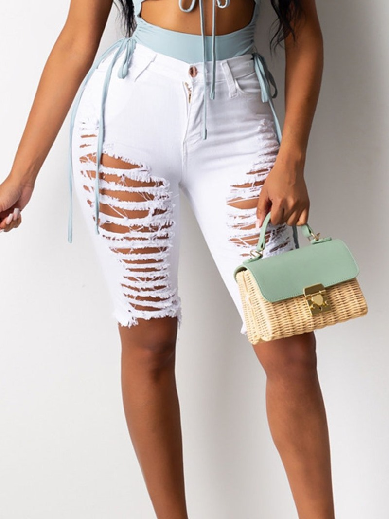 Ericdress Plain Zipper Skinny Shorts