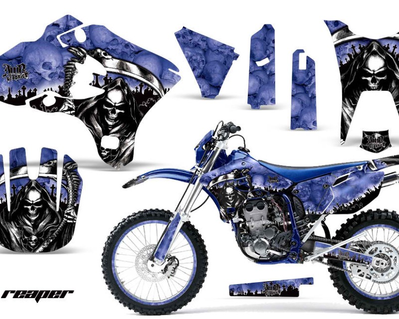 AMR Racing Graphics MX-NP-YAM-WR250F-WR450F-03-04-RP U Kit Decal Sticker Wrap + # Plates For Yamaha WR250F WR450F 2003-2004 REAPER BLUE