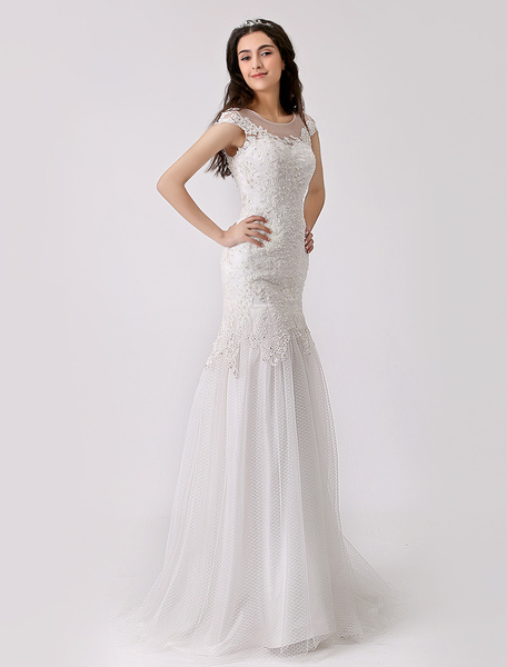 Milanoo Lace and Tulle Trumpet Wedding Gown with Illusion Neckline