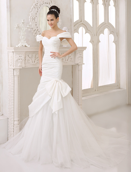 Milanoo Chapel Train Ivory Bow Bridal Mermaid Wedding Dress with Sweetheart Neck Off-The-Shoulder