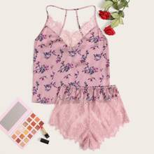 Ditsy Floral Eyelash Lace Detail Cami Top and Sheer Shorts PJ Set