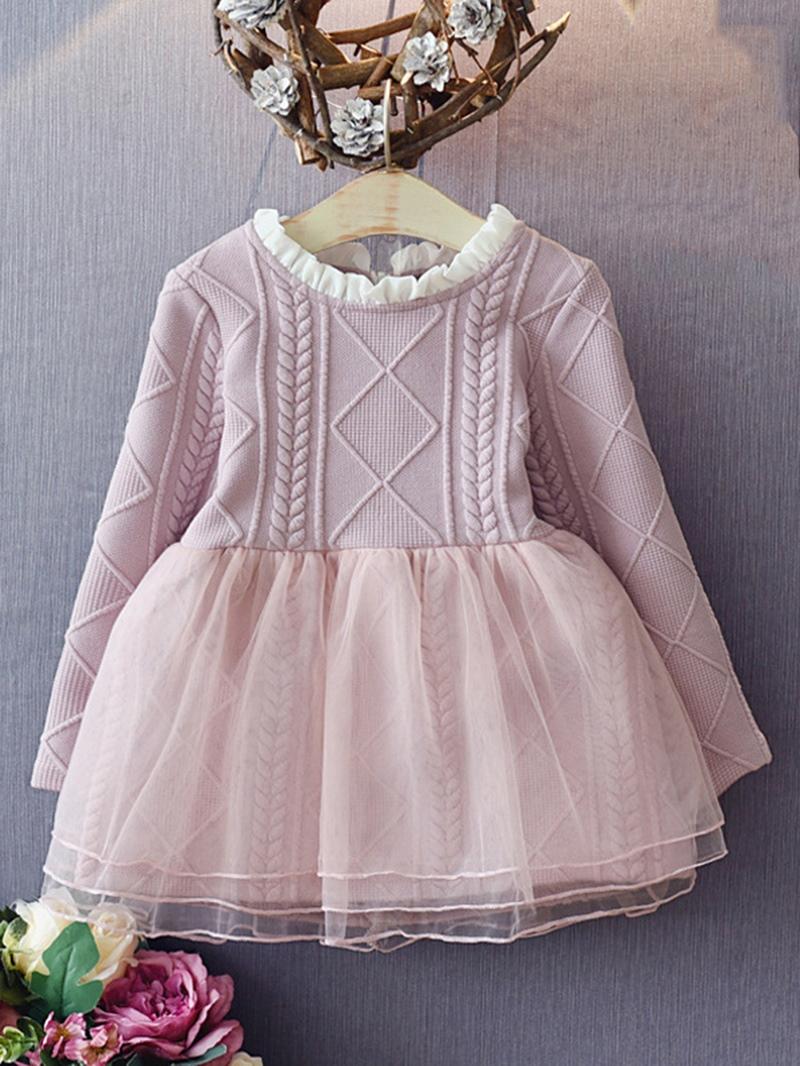 Ericress Grace Mesh Patchwork Long Sleeve Girl's Princess Dress