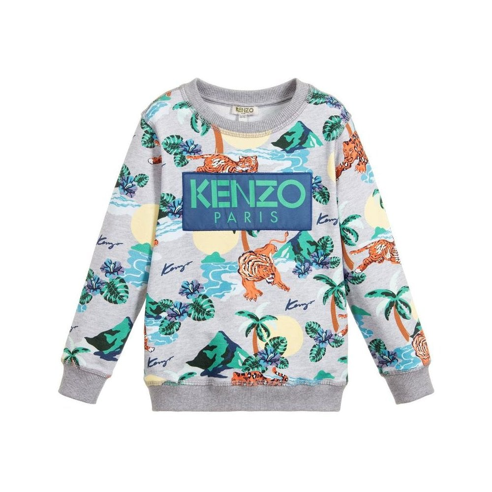 Kenzo Kids Jungle Tiger Sweatshirt Colour: GREY, Size: 8 YEARS