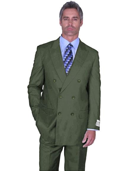 Mens Olive Green Double Breasted Peak Lapel Suit Side Vented
