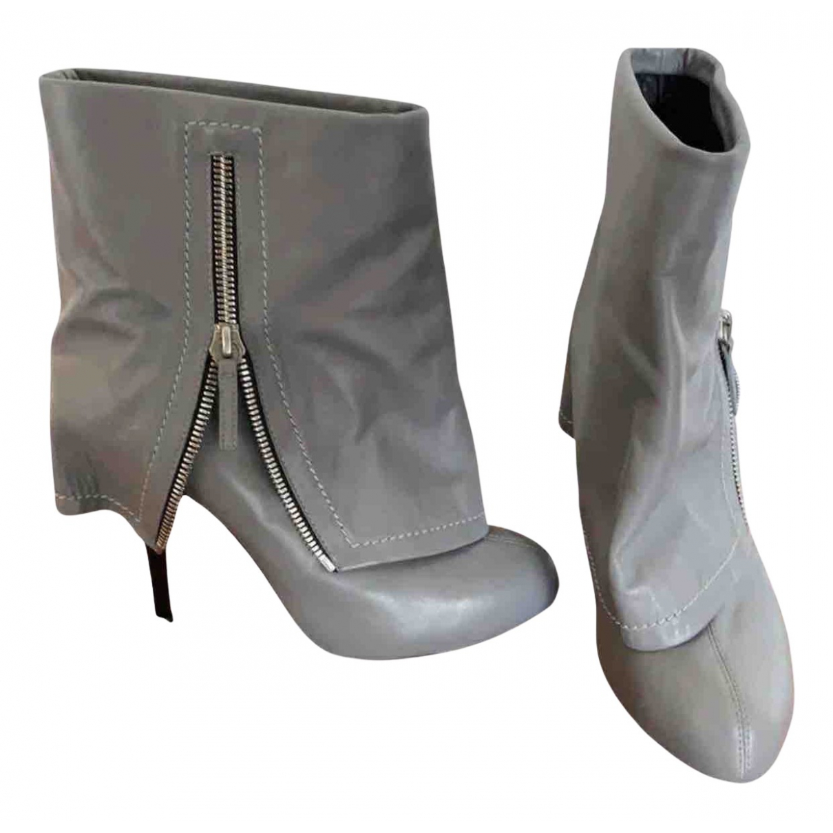 Giuseppe Zanotti N Grey Leather Ankle boots for Women 40 EU