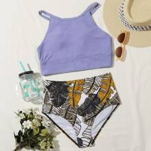Tropical High Waisted Bikini Swimsuit