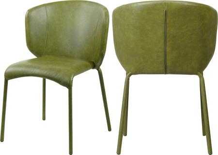 703OLIVE-C Set of two Chairs Drew Olive Green Faux Leather Dining