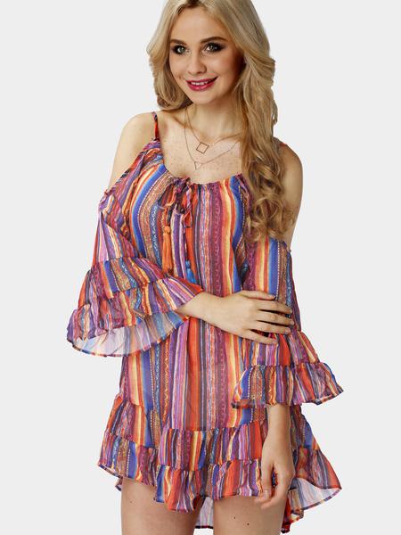 Yoins Multicolor Stripe Cold Shoulder Mini Dress