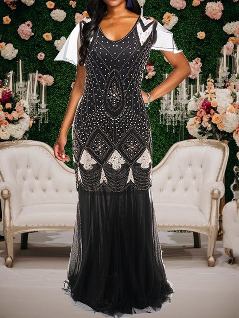 Ericdress Short Sleeve Diamond V-Neck A-Line Mid Waist Dress