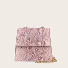 Maedchen Tasche mit Schlangenleder Muster und Kette