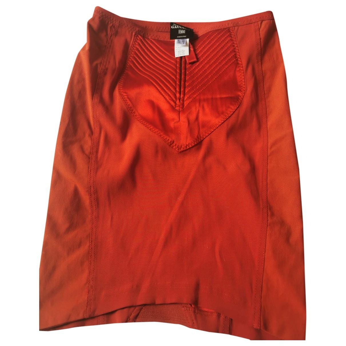 Jean Paul Gaultier - Jupe   pour femme en coton - elasthane - orange