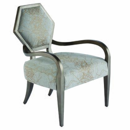 Geode Upholstered 538514-5027AA Mica Accent Chair with Hexagonal Shaped Back  Swooping Arms and Geometric Trellis Overlay in