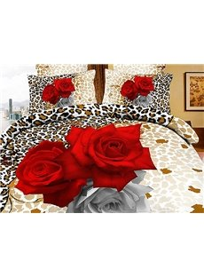 Sexy Leopard with Red Roses Print 2-Piece Pillow Cases