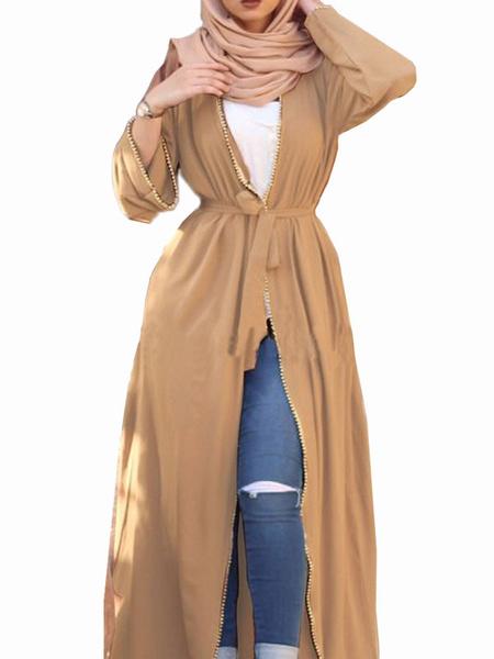 Milanoo Maxi Dress Long Sleeves Khaki Maxi Polyester Floor Length Dress