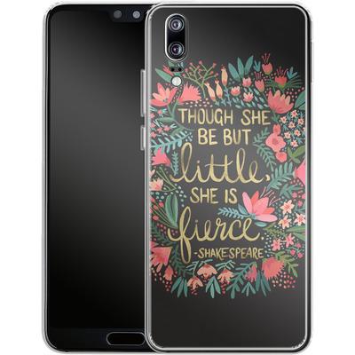 Huawei P20 Silikon Handyhuelle - Little But Fierce Charcoal von Cat Coquillette