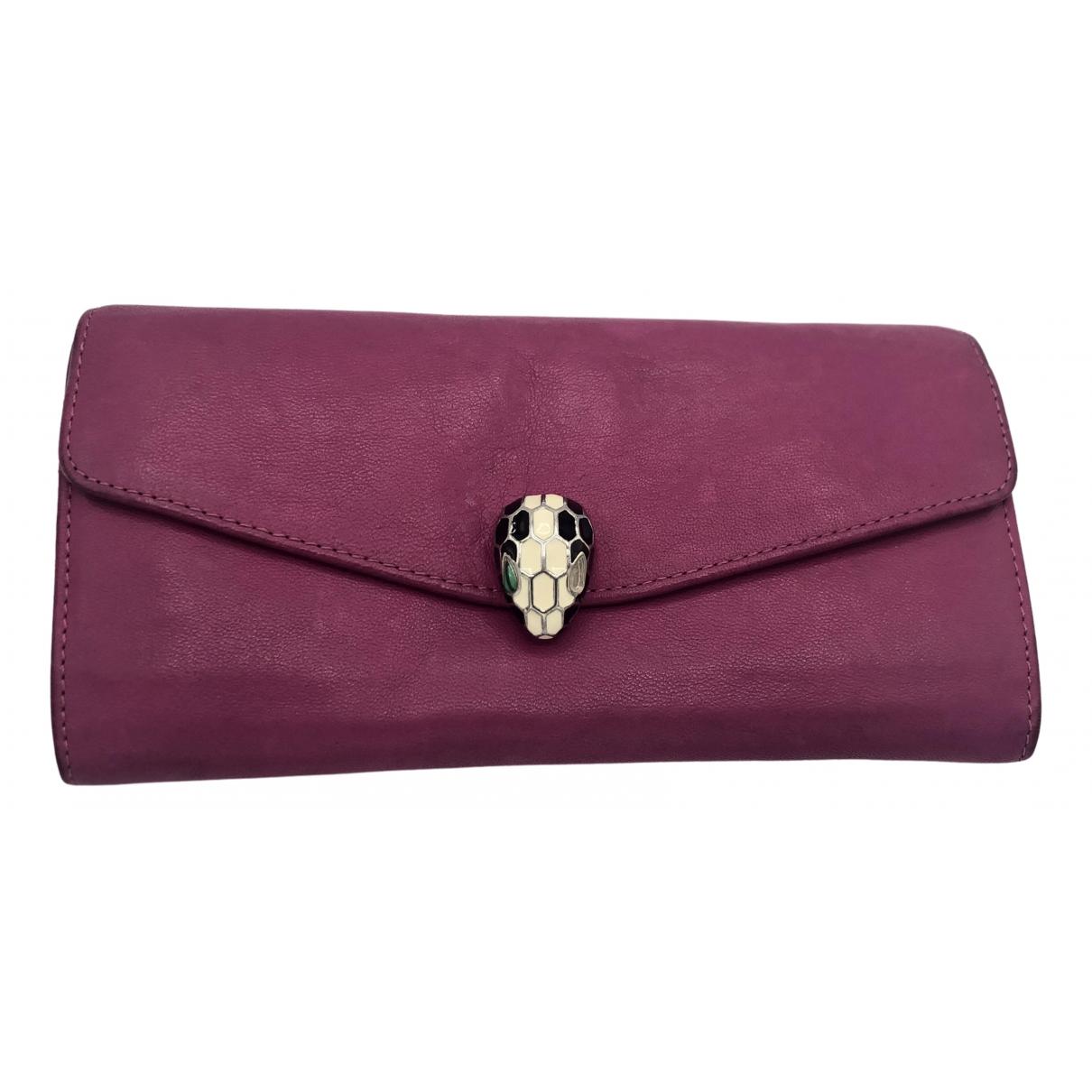 Bvlgari - Portefeuille Serpenti pour femme en cuir - rose