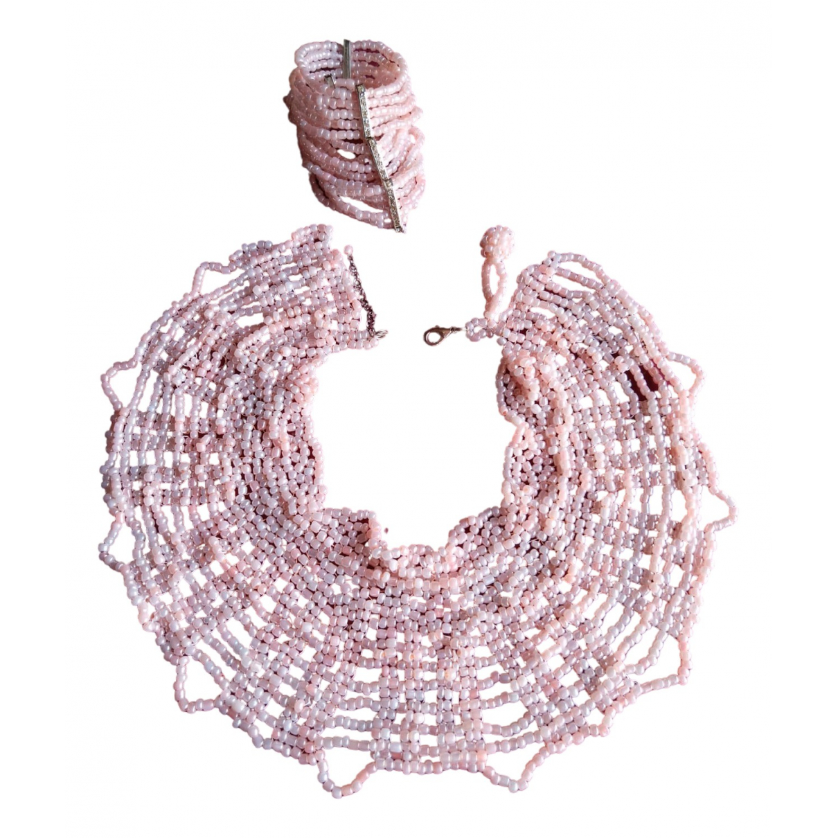 Non Signé / Unsigned \N Pink Pearls Jewellery set for Women \N
