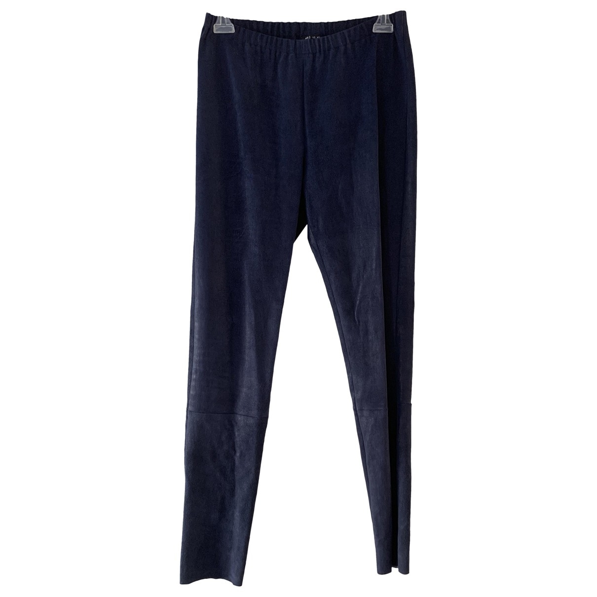 Ann Demeulemeester \N Blue Suede Trousers for Women 38 FR