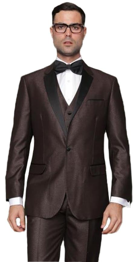 Mens 1 Button Single Breasted Vested Brown Tuxedo Suit