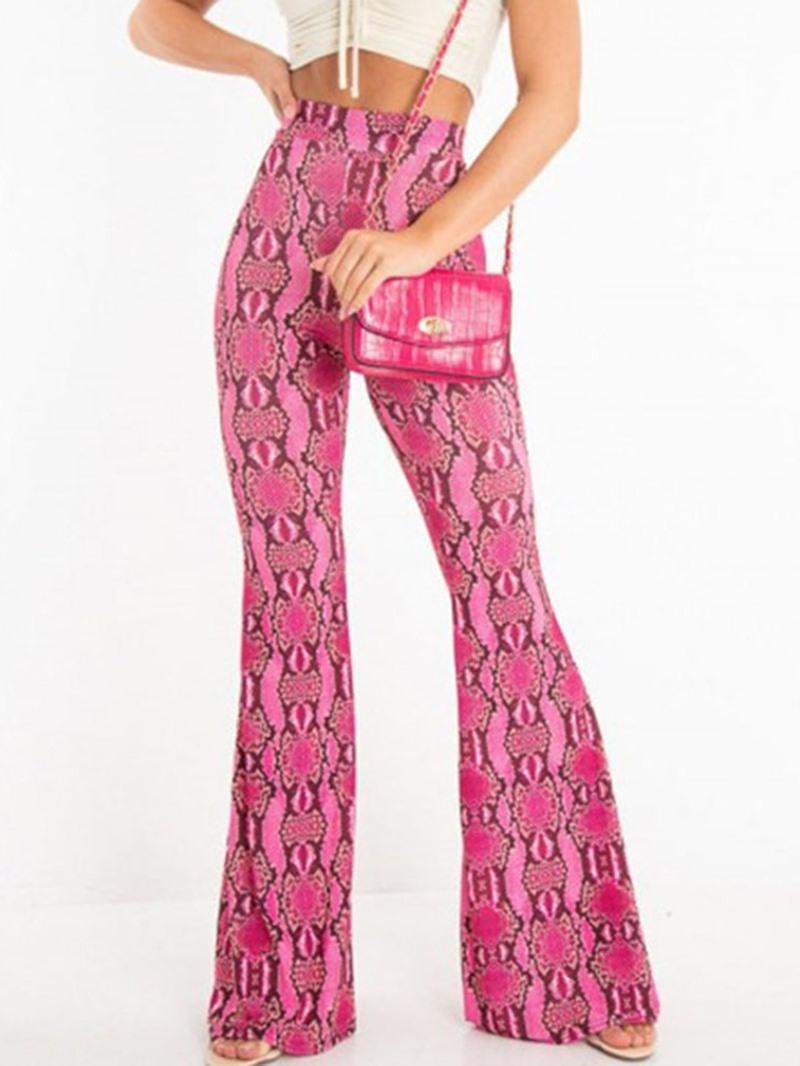 Ericdress Print Serpentine Slim High Waist Casual Pants