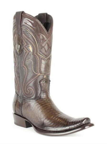 Men's Wild West Square Toe Genuine Teju Lizard Leather Boots Brown
