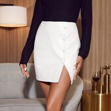 Zip Side Button Front PU Leather Skirt